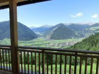 Aussicht vom Balkon der Ferienwohnung in Richtung Mals und Münstertal